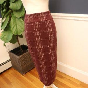 14th & Union Midi Fall/Winter Burgundy Skirt XS